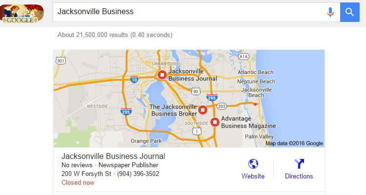 Jacksonville SEO Business Google Search Results